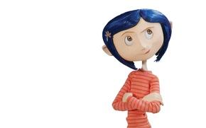 Картинка мультфильм, девочка, белый фон, страшная сказка, Coraline, Коралина, Коралайн