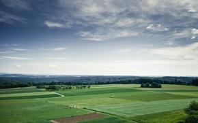 Обои зелень, лето, небо, облака, поля