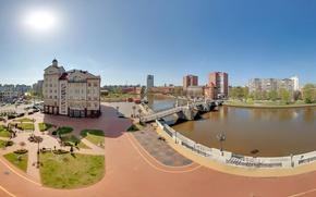 Картинка мост, река, здания, Россия, Калининград