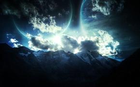 Картинка звезды, горы, планеты, рельеф