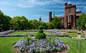 Обои город, парк, фото, замок, газон, США, Smithsonian