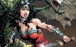 Картинка sword, fantasy, Wonder Woman, armor, art, comics, artwork, superhero, costume, warrior, DC Comics, Diana Prince