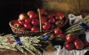 Обои корзина, яблоки, Натюрморт, плетёная, красные