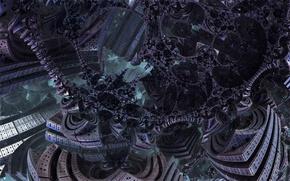 Картинка фантастика, конструкция, 3D fractal, чужие просторы