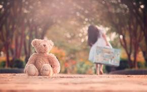 Картинка дорога, игрушка, мишка, девочка, чемодан