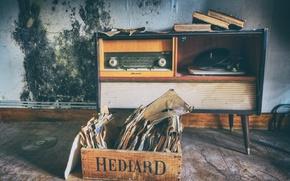 Обои винил, стерео, радиола, книги, ретро, пластинки