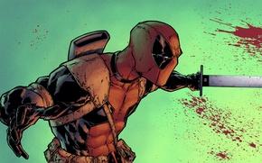 Обои кровь, меч, маска, злодей, art, Deadpool, Marvel Comics, Wade Wilson