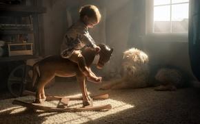 Обои уют, дом, конь, собака, ребёнок