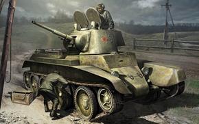 Картинка арт, танк, БТ-2, World of Tanks Generals, ремонтируют