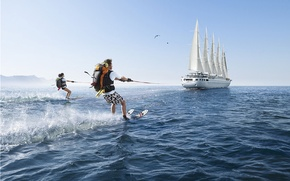 Обои парусник, водные лыжи, Romain Laurent, хайкинг, фантазия