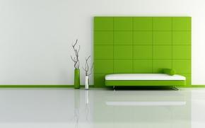 Обои зеленый, кровать, минимализм, квадраты, вазы