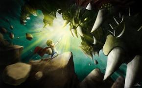 Картинка свет, монстр, меч, арт, клыки, чудовище, рыцарь, darkduck, duckwai
