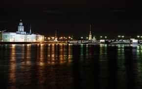 Картинка ночь, мост, Питер, Санкт-Петербург