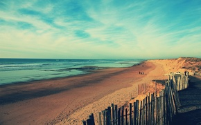 Картинка море, небо, облака, побережье, Франция