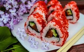 Картинка япония, еда, сирень, суши, роллы