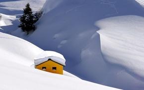 Картинка зима, снег, горы, дерево, ель, домик
