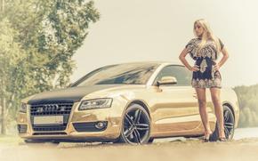 Картинка авто, девушка, Audi, Девушки, платье