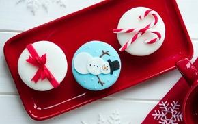Картинка еда, Новый Год, тарелка, Рождество, чашка, сладости, Christmas, красная, крем, десерт, пирожные, праздники, New Year, ...