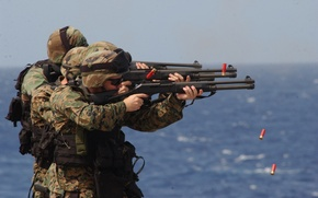Картинка fire, gun, soldiers, shotgun, navy