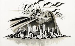 Обои летучая мышь, город, Batman, Arkham, рисунок