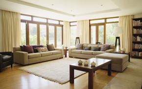 Картинка дизайн, стол, комната, ковер, мебель, окна, интерьер, кресла, занавески, шторы, диваны, design, interior