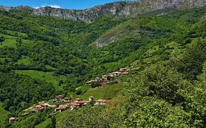 Обои Asturias, поля, домики, Испания, горы, панорама, Proaza, леса