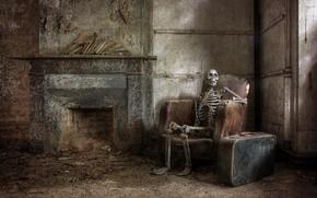 Картинка кресло, скелет, чемодан