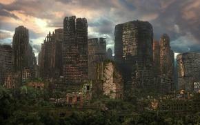 Картинка город, арт, развалины, руины, постапокалиптика, лианы, залосли