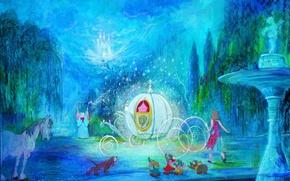 Картинка замок, конь, волшебство, собака, фонтан, карета, Disney, мыши, волшебница, Золушка, Дисней, Cinderella