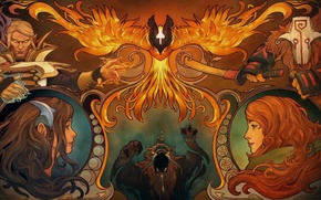 Картинка арт, Dota 2, Phoenix, Juggernaut, Yurnero, Mirana, Invoker, Princess of the Moon, Windranger, Lyralei