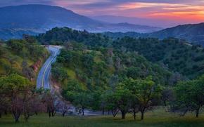 Картинка дорога, лес, деревья, закат, горы, природа
