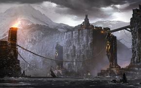 Обои пламя, молнии, корабли, снег, горы, цепи, статуи, киркволл, город, dragon age 2, огни, гроза, скалы, ...