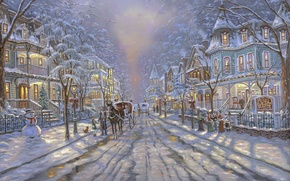 Обои снеговик, street, snow, ёлка, дорога, Cape May Christmas, повозки, Virginia, Christmas, painting, Robert Finale, живопись, ...