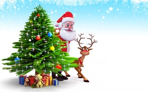Картинка снег, елка, новый год, рождество, подарки, christmas, new year, дед мороз, олени, snow, christmas tree, …