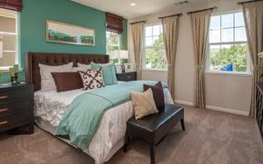 Картинка окна, кровать, интерьер, подушки, шторы, спальня