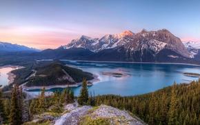 Обои деревья, пейзаж, горы, природа, озеро, канада, Kananaskis Lakes