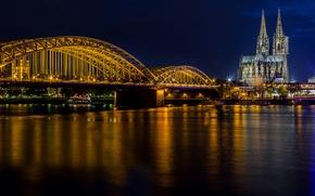 Картинка свет, ночь, мост, река, церковь, собор, Кёльн, Рейн