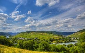 Картинка небо, деревья, пейзаж, природа, река, фото, Германия, Sinsheim