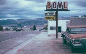 Картинка car, USA, vintage, sky, retro, mountain, America, gas