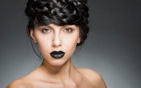 Картинка портрет, макияж, губы, причёска, кареглазая