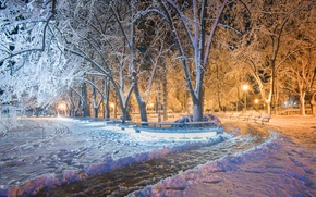 Обои зима, парк, Болгария, Kazanlak