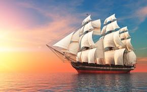 Обои море, небо, корабль, паруса, плавание