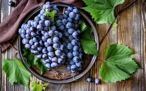 Картинка листья, красный, ягоды, тарелка, виноград, грозди