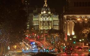 Картинка ночь, огни, улица, дома, Испания, Мадрид, Метрополис