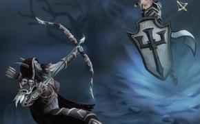 Картинка лук, стрела, щит, Warcraft, art, hots, crusader, Sylvanas, Heroes of the Storm, moba, johanna