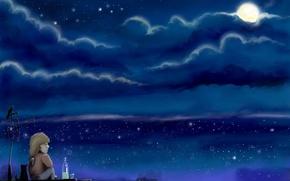 Обои луна, рисунок, Грусть, крыши, Карлсон
