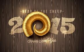 Картинка Новый Год, golden, New Year, sheep, Happy, 2015, год овцы
