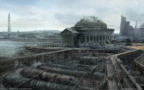 Обои fallout, руины, город