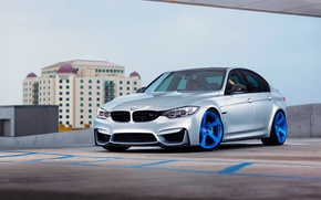 Картинка BMW, Blue, Front, Color, Silver, Wheels, HRE, F80, RS102M