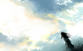 Обои небо, одиночество, Девушка